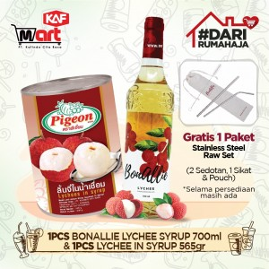 Pigeon Lychee In Syrup 565gr & Bonallie Premium Lychee Syrup 700 ml