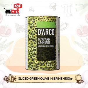 D'arco Sliced Green Olives In Brine 4100g